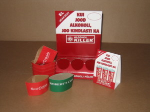 Advertising bases and heat protectors for the drink industry