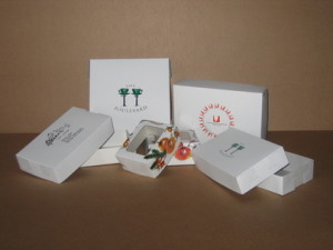 Boxes for cakes and biscuits, with print