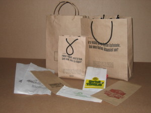 Paper bags with printed matter